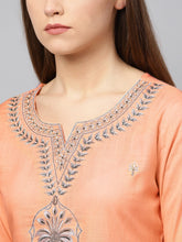 Load image into Gallery viewer, Yufta Women Peach-Coloured & Grey Embroidered Kurta with Palazzos