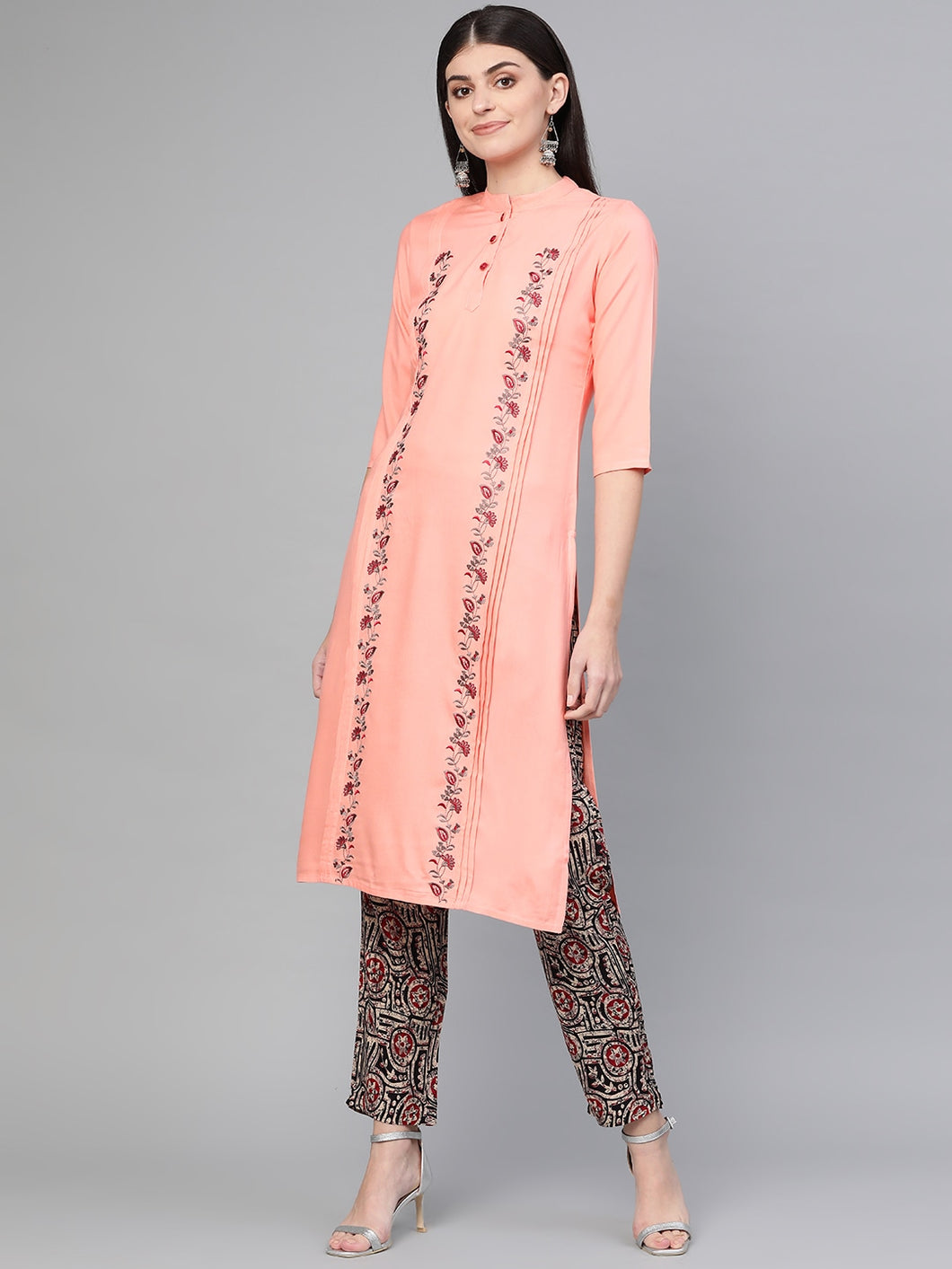 Yufta Embroidered Kurta with printed palazzo