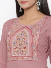 Load image into Gallery viewer, Yufta Embroidered Dobby Kurta with hand block Palazzo