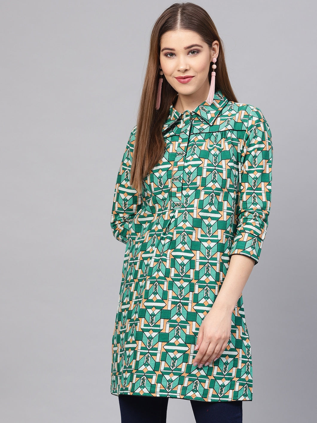 Yufta Green Printed Tunic-S-Green