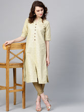 Load image into Gallery viewer, Yufta Women Beige Printed Straight Kurta-S-Beige