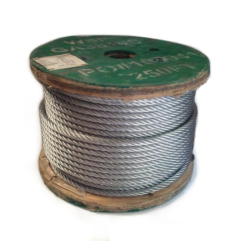 Galvanized Aircraft Cable 7x19 - 250 FT Spool – Florida Net Company