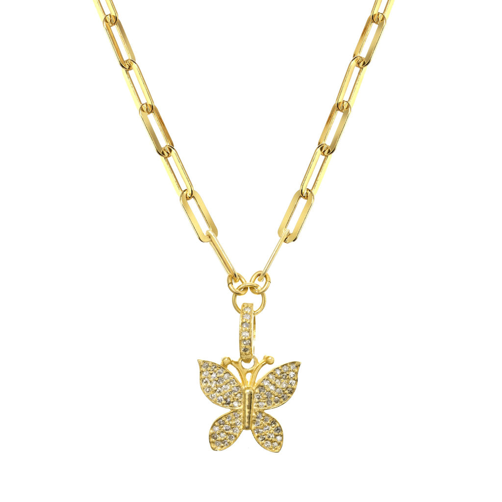gold diamond butterfly pendant necklace