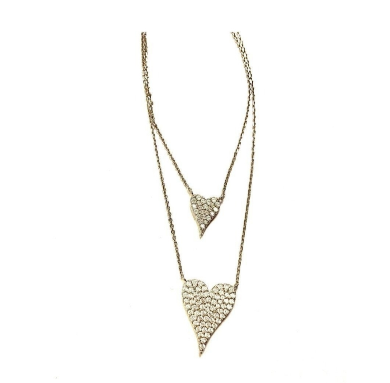 Double Pave Heart Necklace