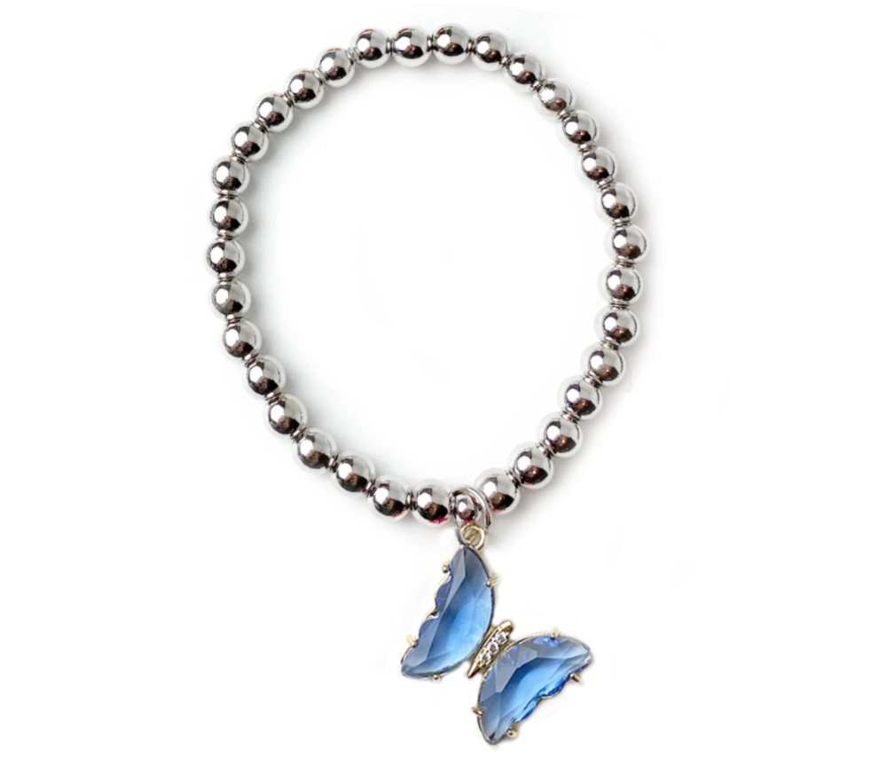 blue beaded colorful butterfly bracelet