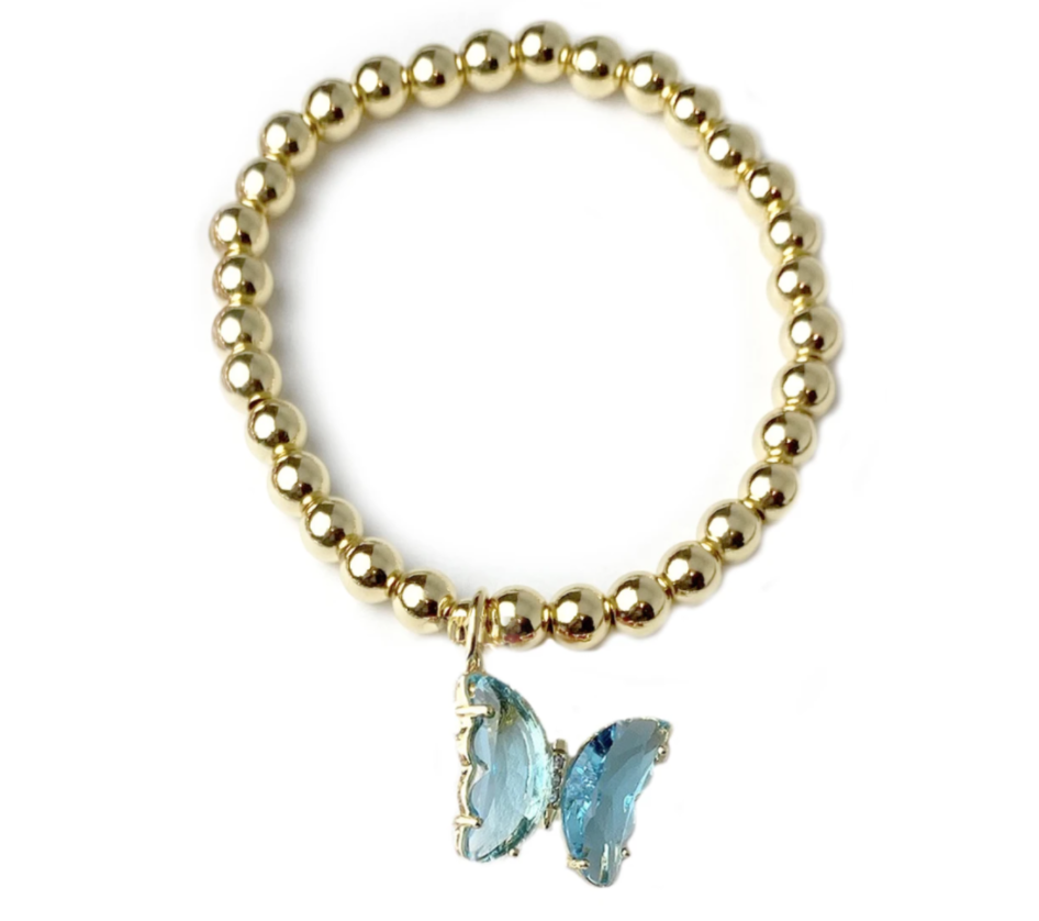 turquoise  beaded colorful butterfly bracelet