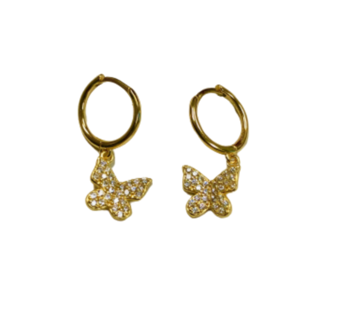 gold dipped butterfly dangling hoop earrings
