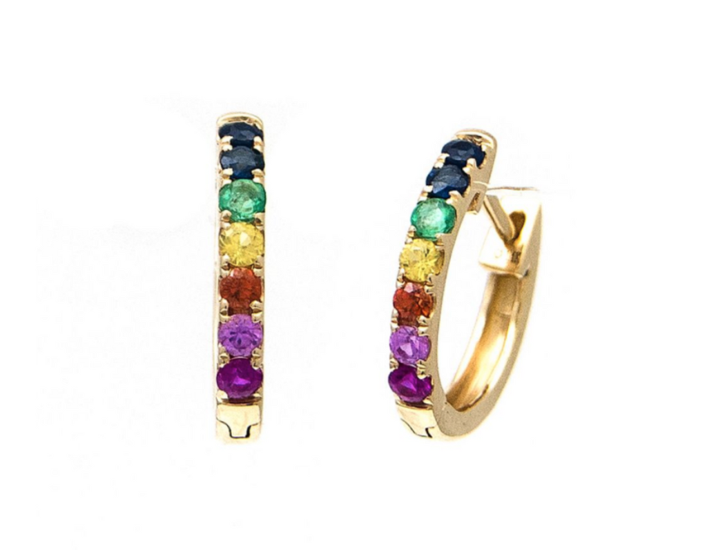 14K yellow gold Rainbow huggie earrings
