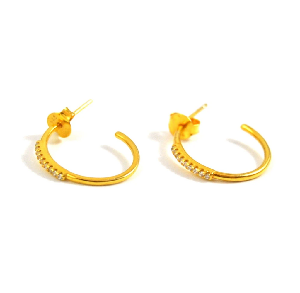 gold hoops with cz