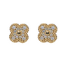 Gold CZ Clover Earrings