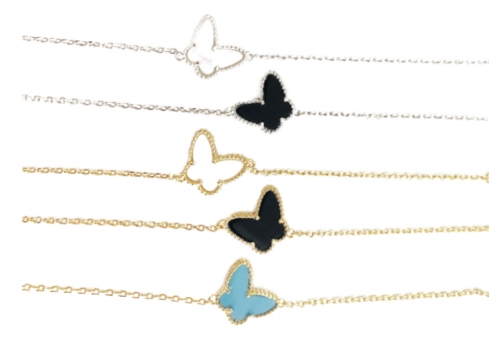 dainty butterfly bracelet on chain
