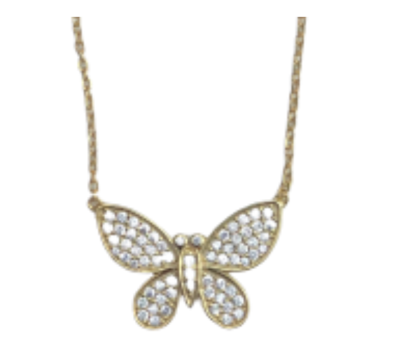 Gold Butterfly CZ Necklace