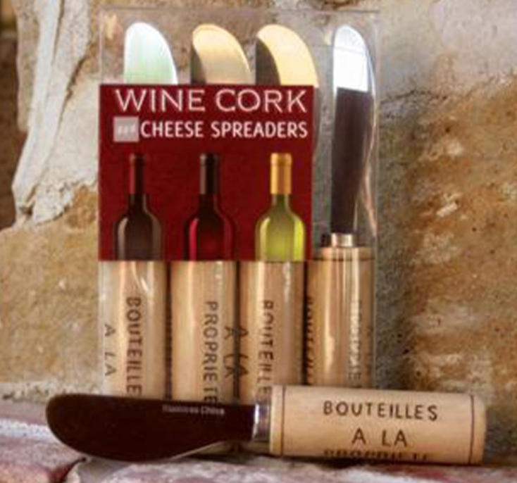 Wine Cork Cheese Spreader Set