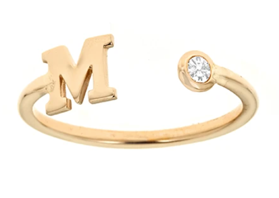 Personalized 14k Mini Initial & Diamond Bezel Ring
