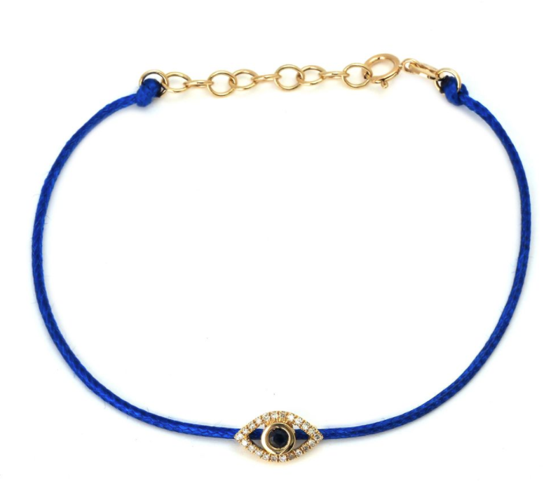 Diamond Evil Eye Cord Bracelet