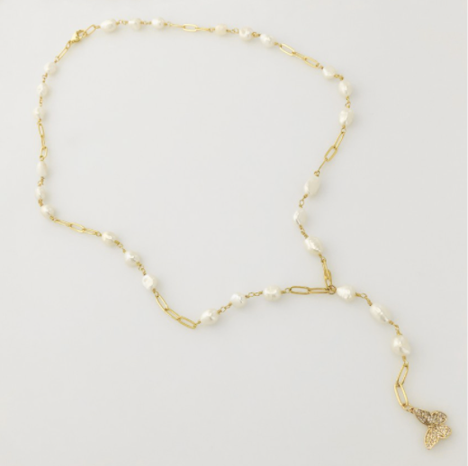 Butterfly Pearl Chain Lariat Necklace