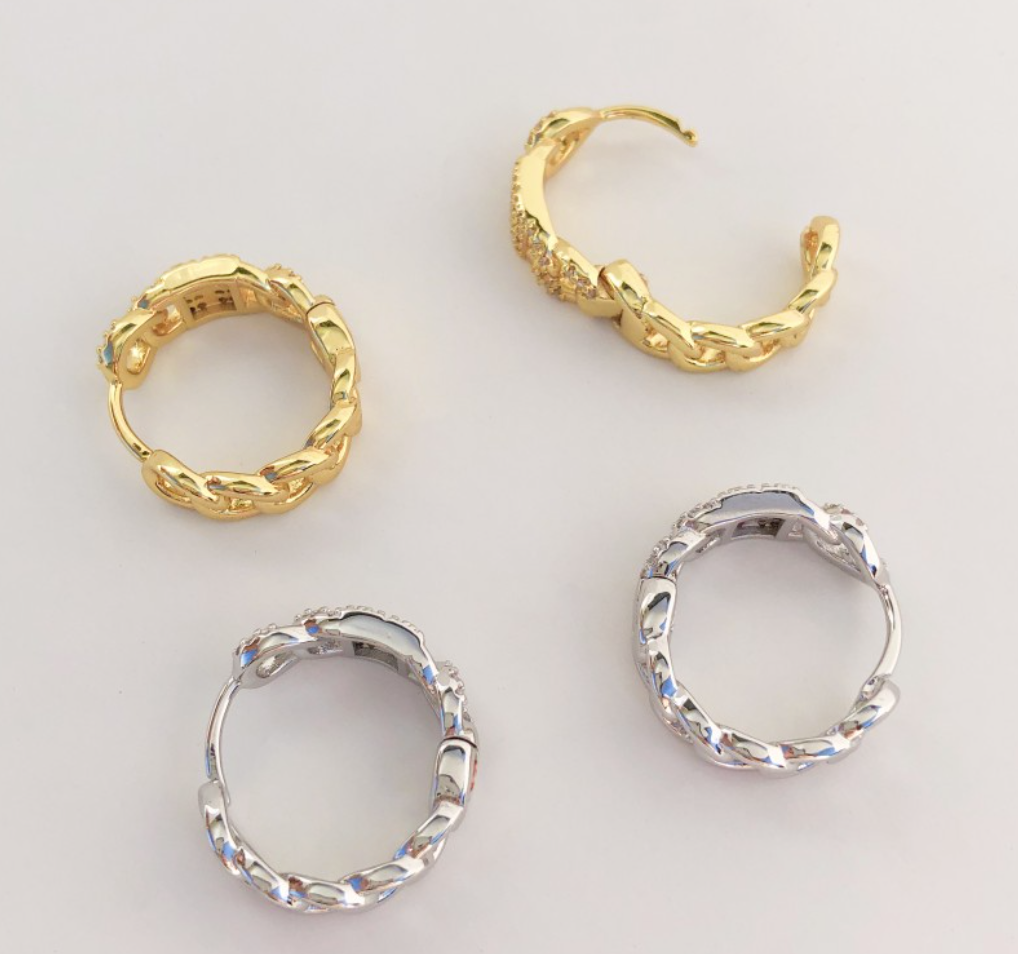 Curb Chain Hoops with CZ