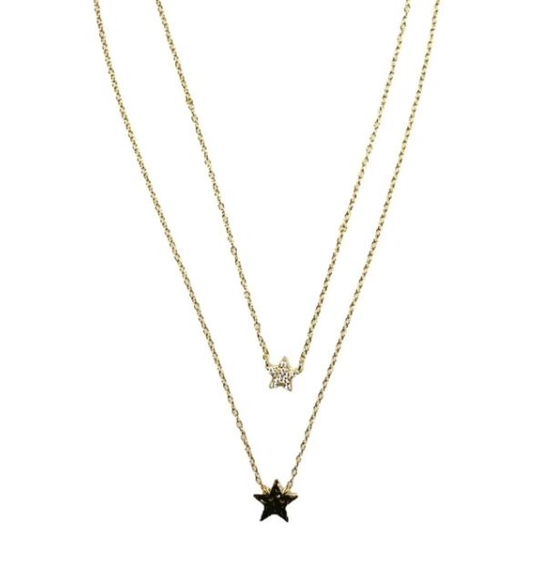 Gold Double Star Necklace
