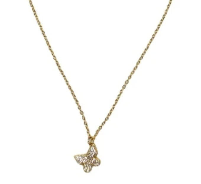Dangling CZ Butterfly Necklace
