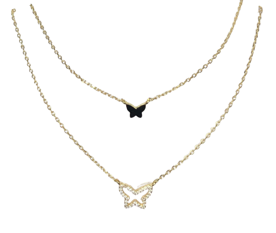 Double Layered Open Butterfly Necklace