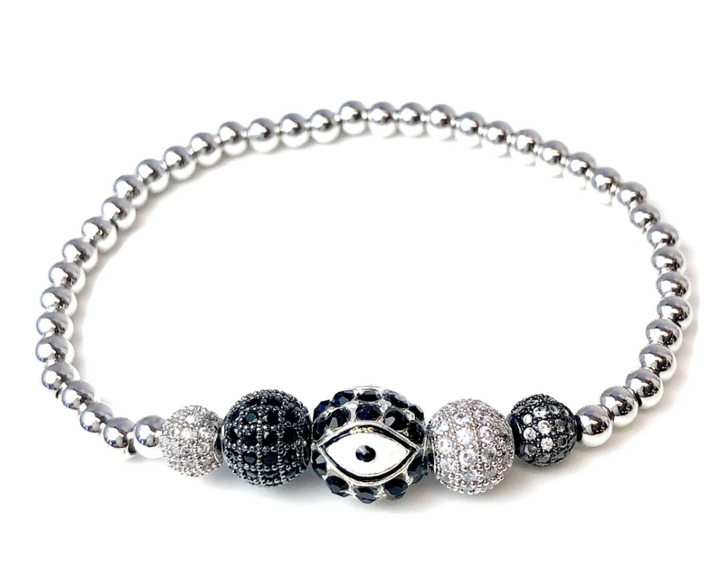 The Master Evil Eye Beaded Stretch Bracelet