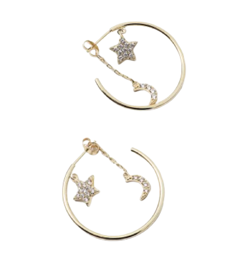Gold Moon/Star Hoop Earrings