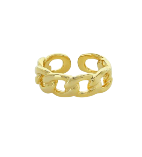 Gold Curb Chain Ring