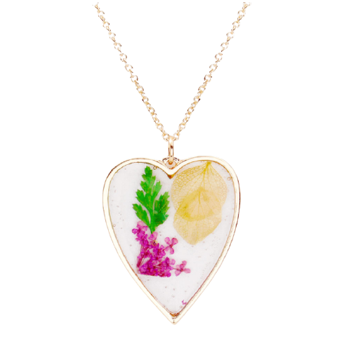 Pressed Flower Lucite Heart Necklace