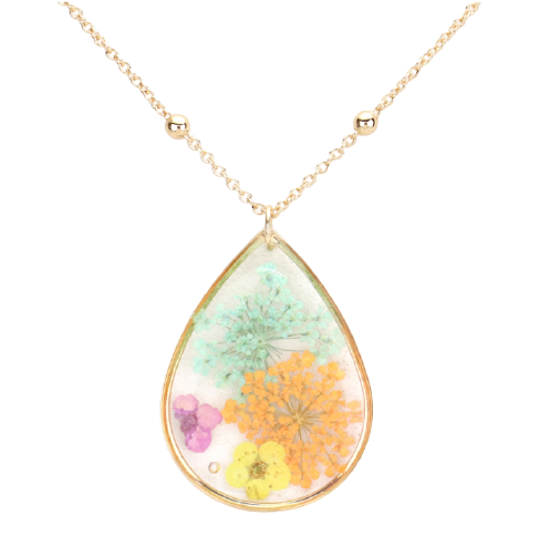 Pressed Flower Lucite Teardrop Necklace