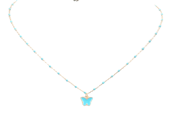 ENAMEL BUTTERFLY PENDANT NECKLACE
