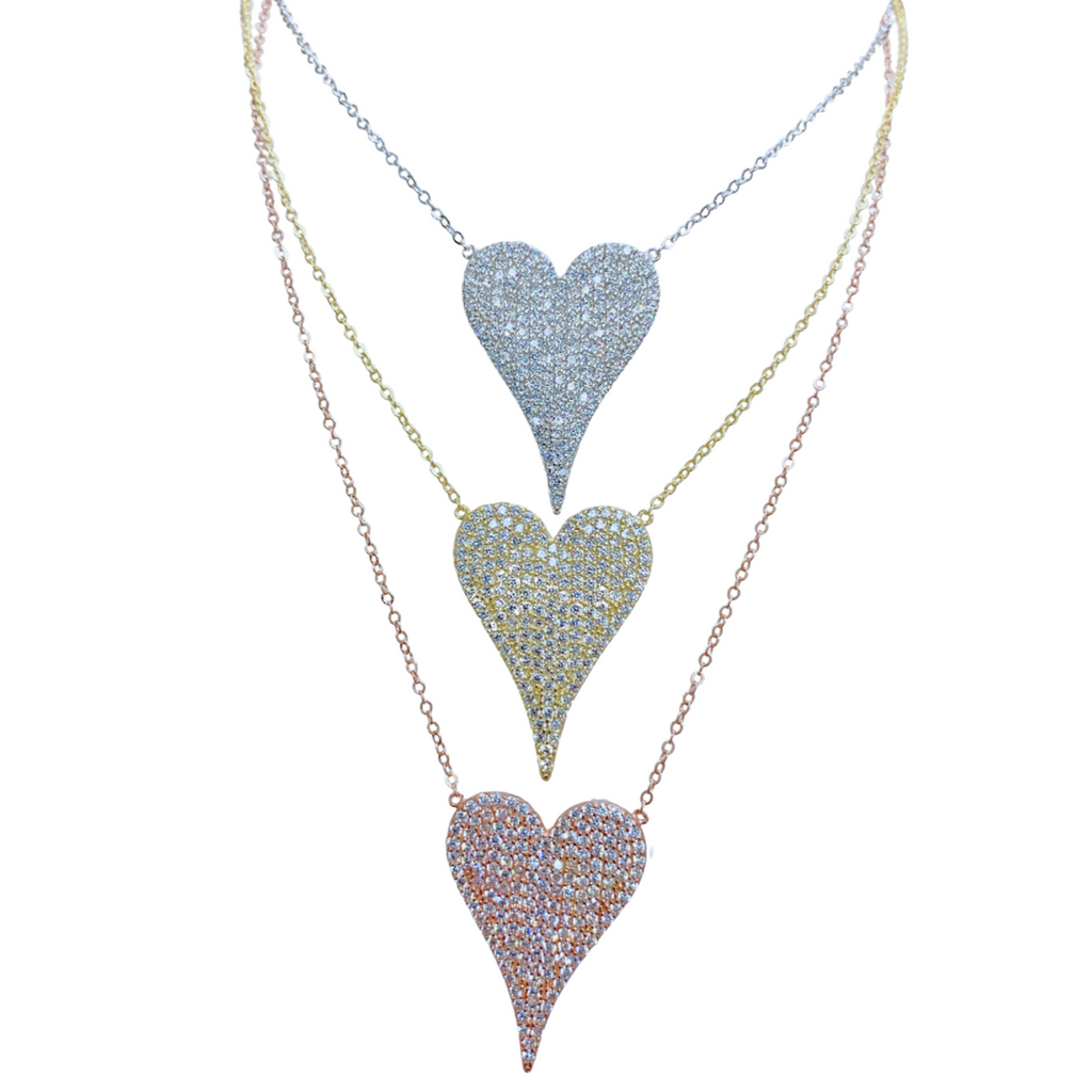 Large Pave Heart Necklace