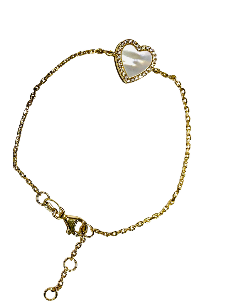 mother of pearl gold heart bracelet