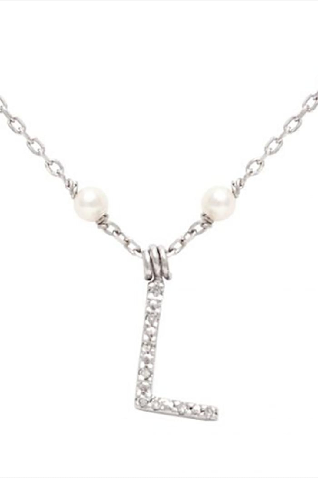 Initial Pearl Diamond Necklace