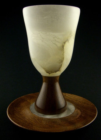 Walnut Alabaster Kiddush Cup