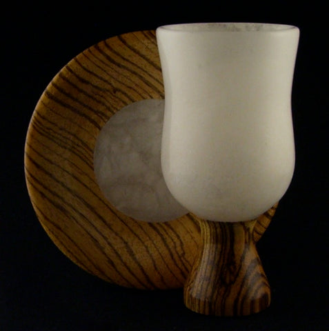 Zebra Wood and Alabaster Kiddush Cup