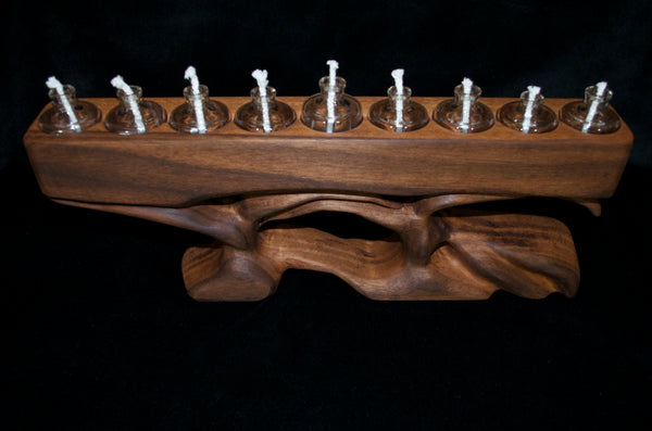 Walnut Wood Menorah
