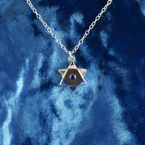 Magen Dovid (Star of David) Blue Sapphire Necklace