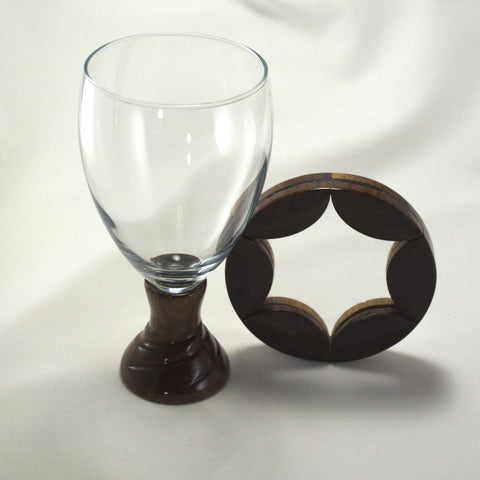 Walnut Wine Glass Kiddush Cup