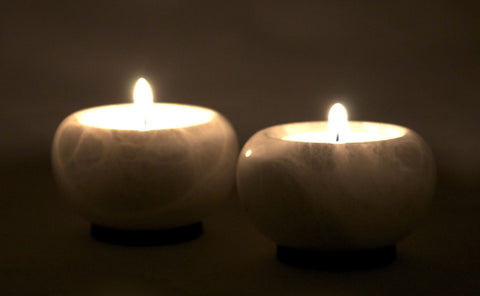 African Padauk and Alabaster Tea Light Candle Holders