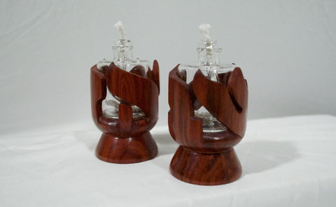 Redheart Wood Shabbat Kodesh Candle Holders