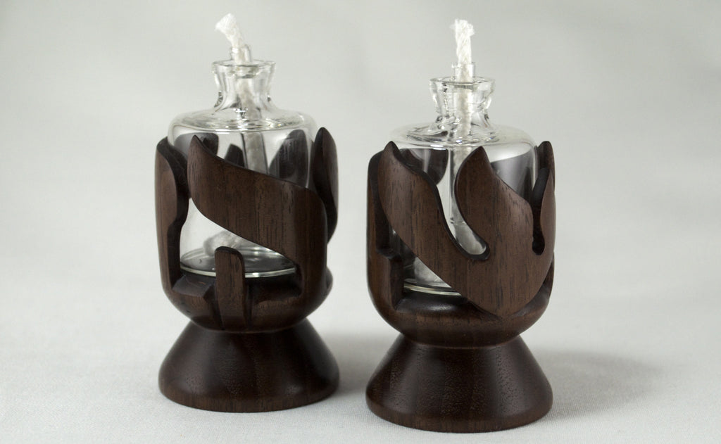 Walnut Shabbat Kodesh Candle Holders