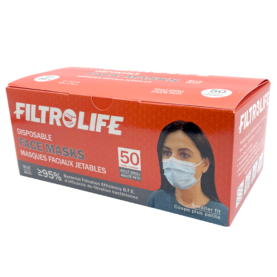 Blue Disposable Face Masks (Adult - Small) | 50 pack