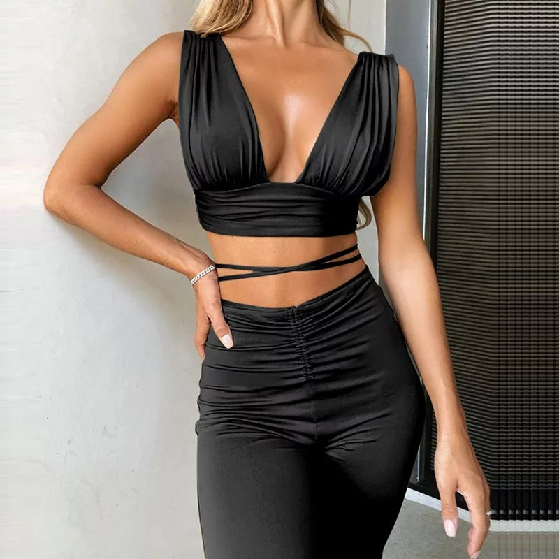 Ali Backless Two Piece Pant Set freeshipping - Flexin' Swag