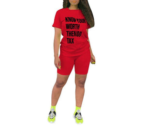 "Women's Casual Print ""Know Your Worth"" Two Piece Set - Flexin' Swag"