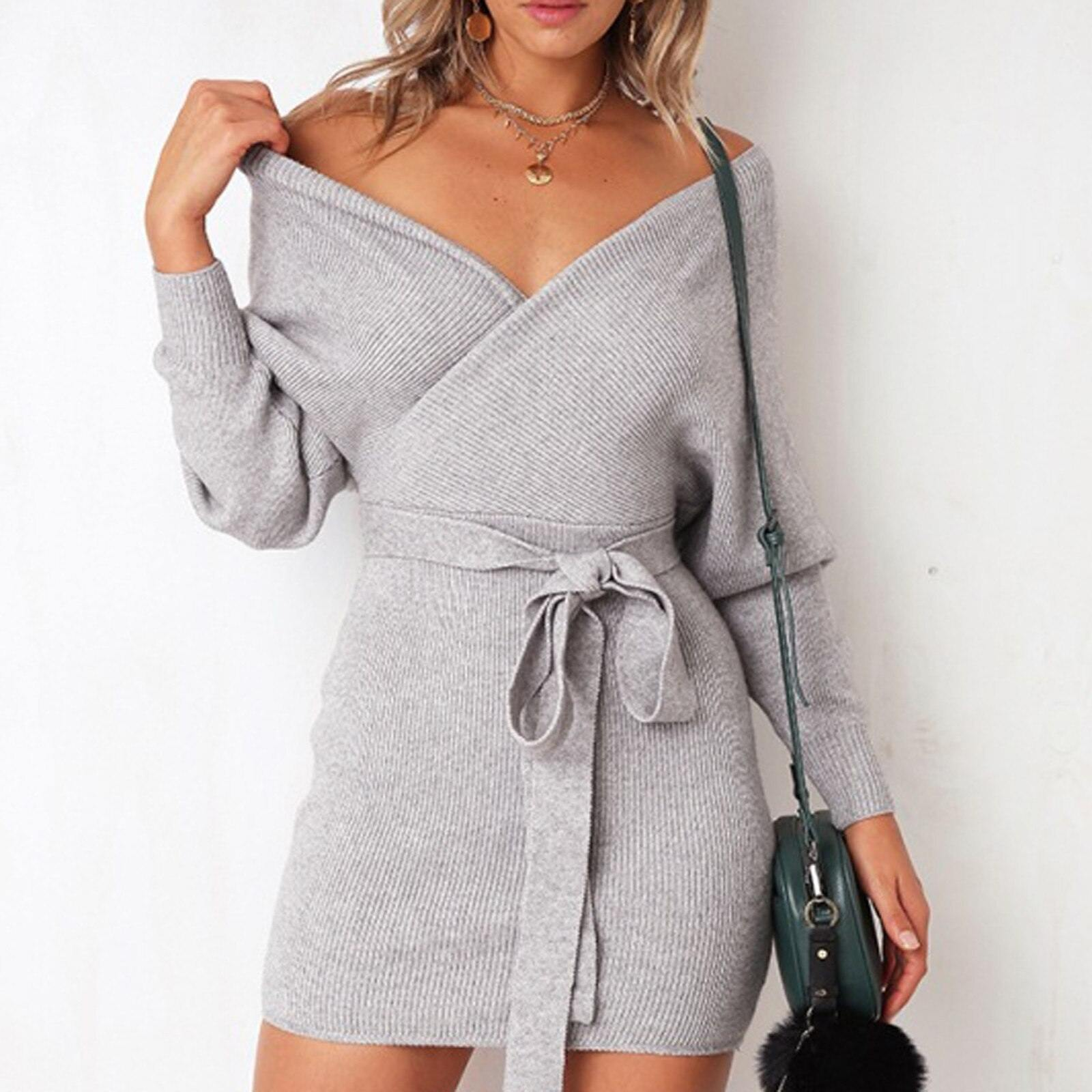 Sexy V Neck Knitted Sweater Dress - Flexin' Swag