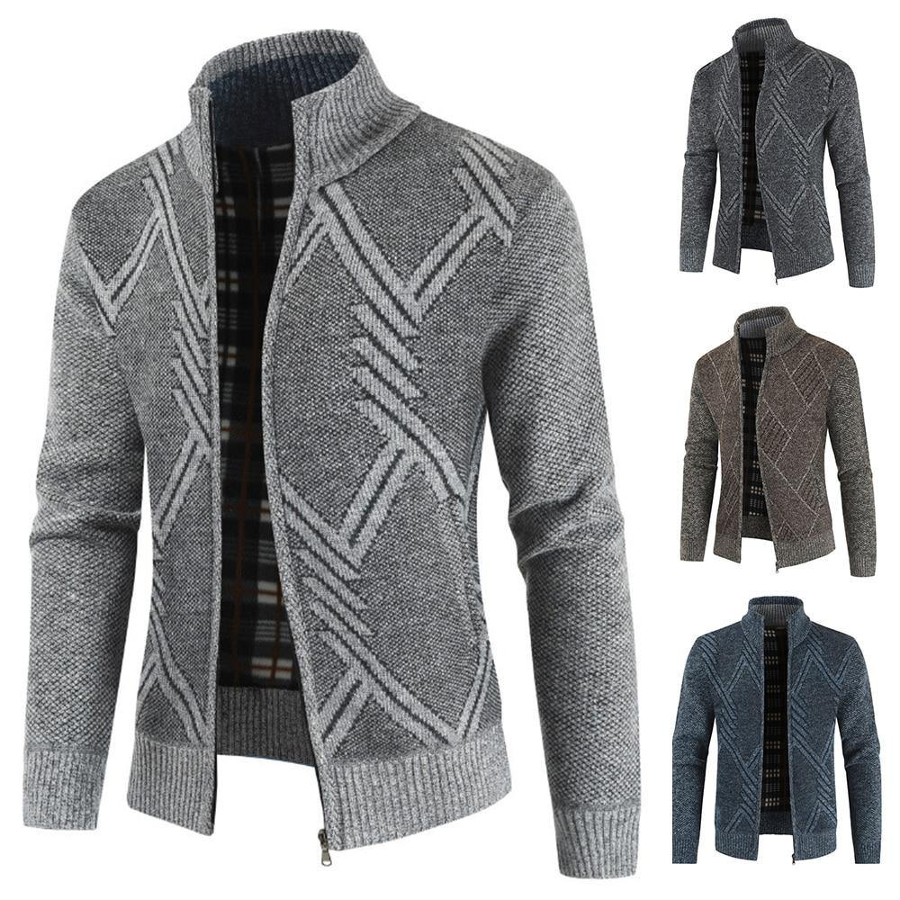 Men's Knitted Cardigan Sweater With Stand Collar - Flexin' Swag