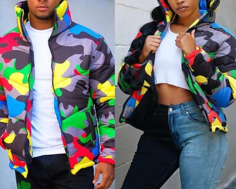 Unisex Colorful Camouflage Print Winter Parkas - Flexin' Swag