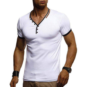 Men's Casual Slim Fit V-Neck Button Up Style - Flexin' Swag