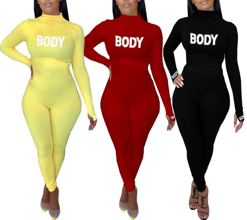 "Sexy ""BODY"" Letter Printed Turtleneck Long Sleeve Jumpsuit Flexin' Swag"