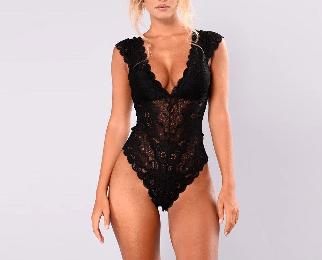 Kya Black Lace Teddy Lingerie
